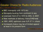 greater choice for radio audiences