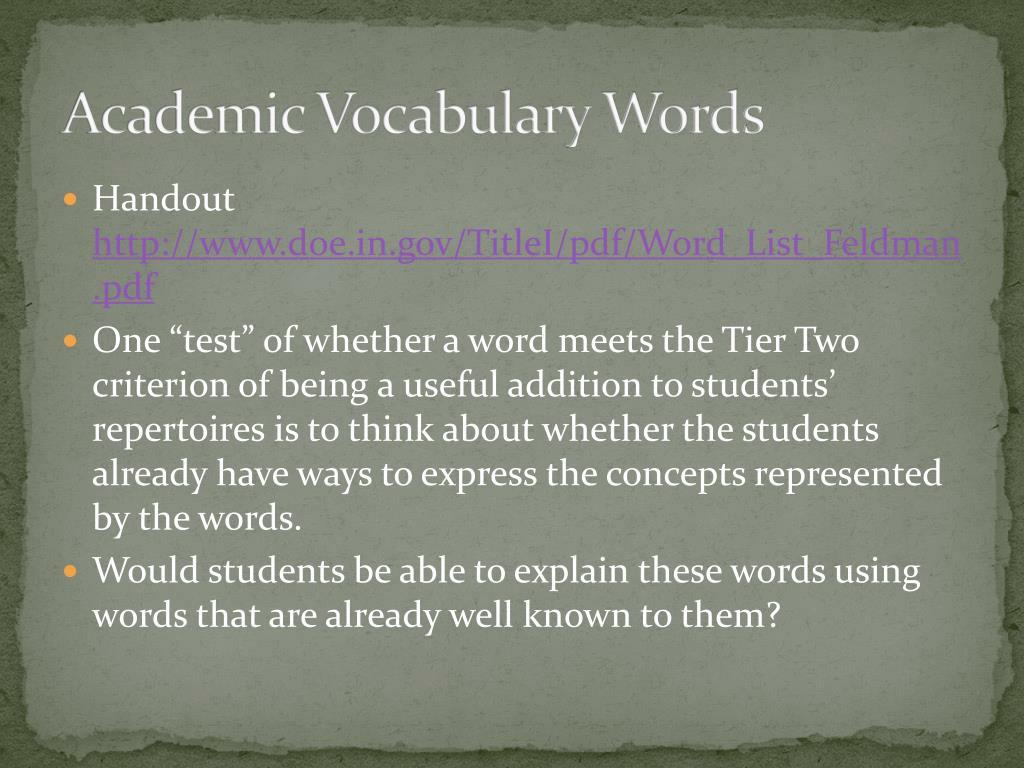 Academic Vocabulary Words