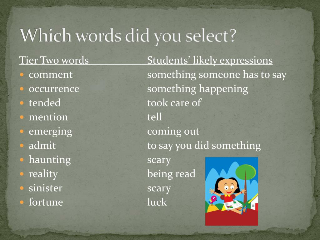 Which words did you select?