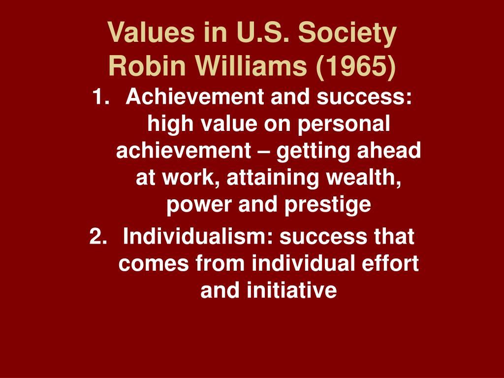 values in u s society robin williams 1965