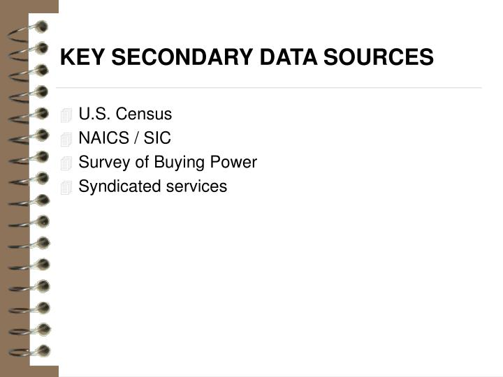 Key secondary data sources
