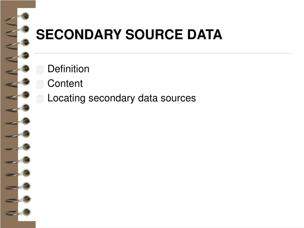 SECONDARY SOURCE DATA