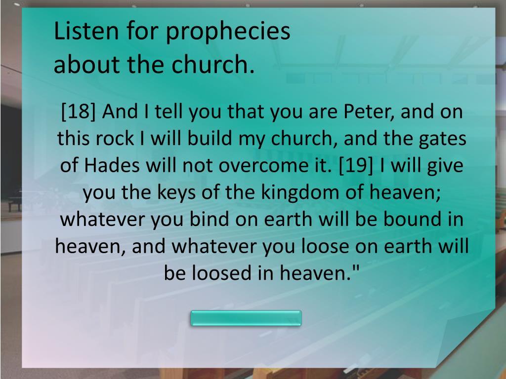 Listen for prophecies