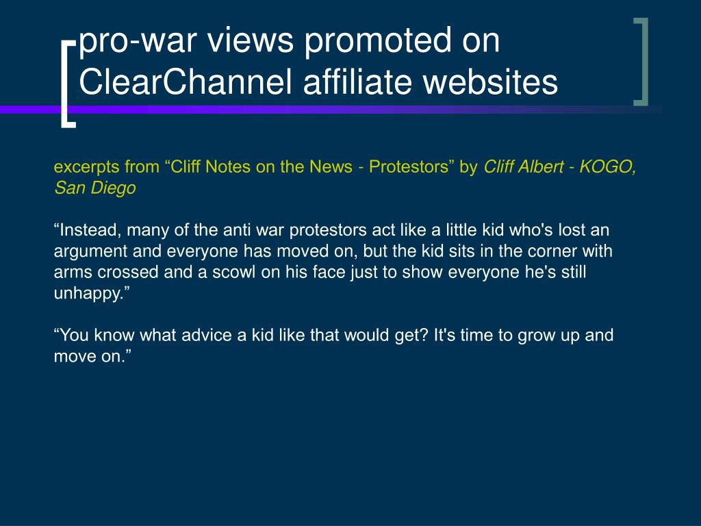 pro-war views promoted on ClearChannel affiliate websites