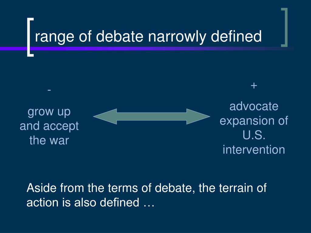 range of debate narrowly defined