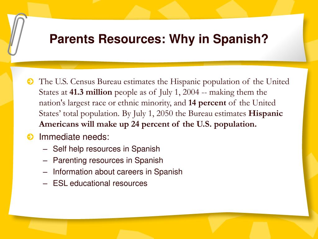 Parents Resources: Why in Spanish?