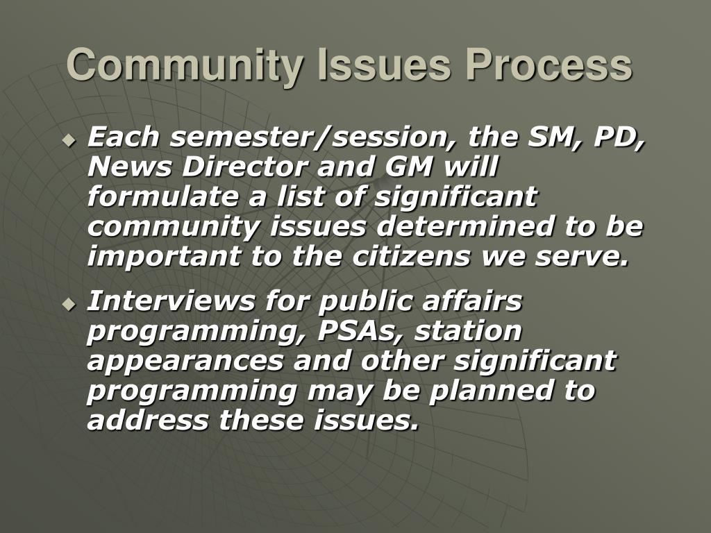 Community Issues Process