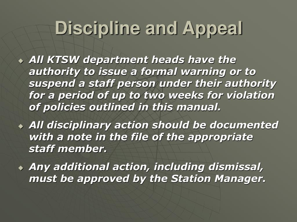 Discipline and Appeal