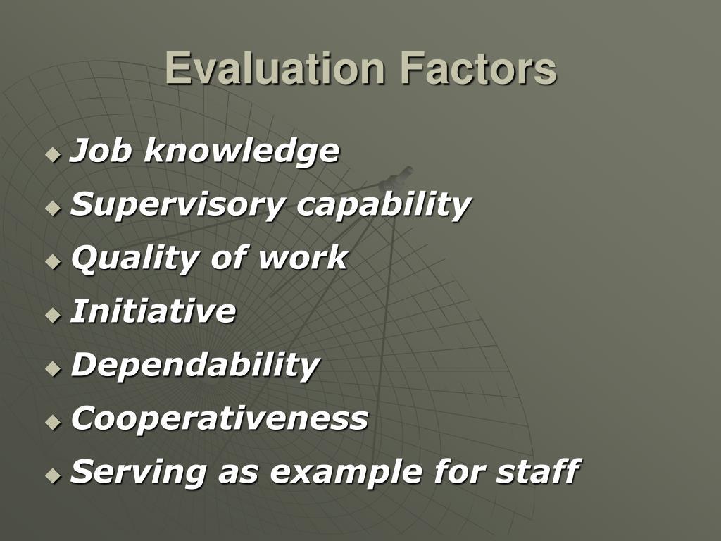 Evaluation Factors