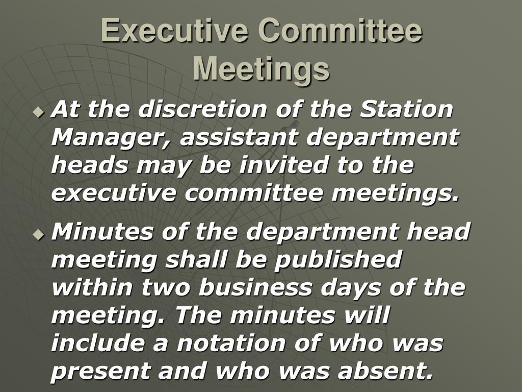 Executive Committee Meetings
