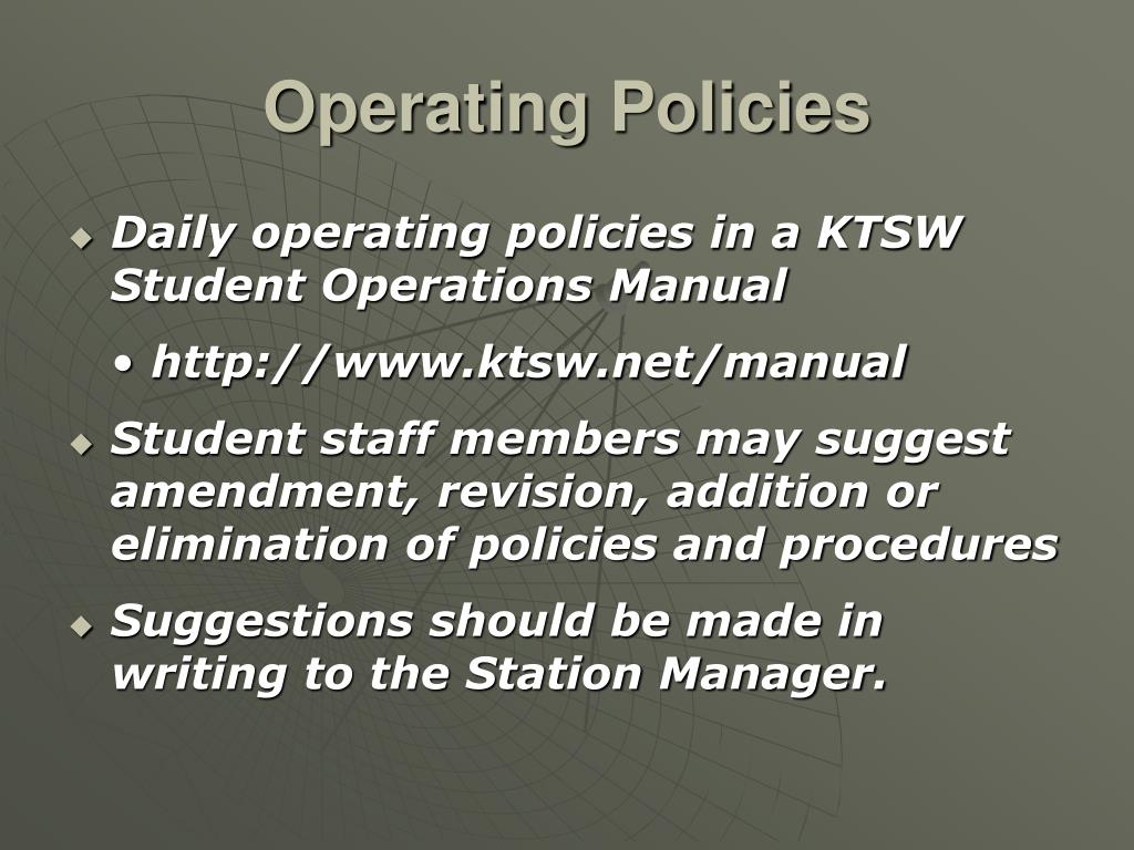 Operating Policies
