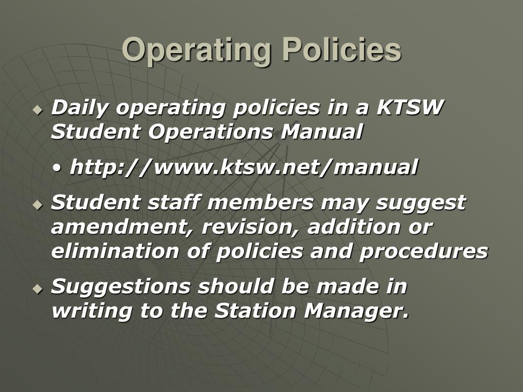 Operating Policies