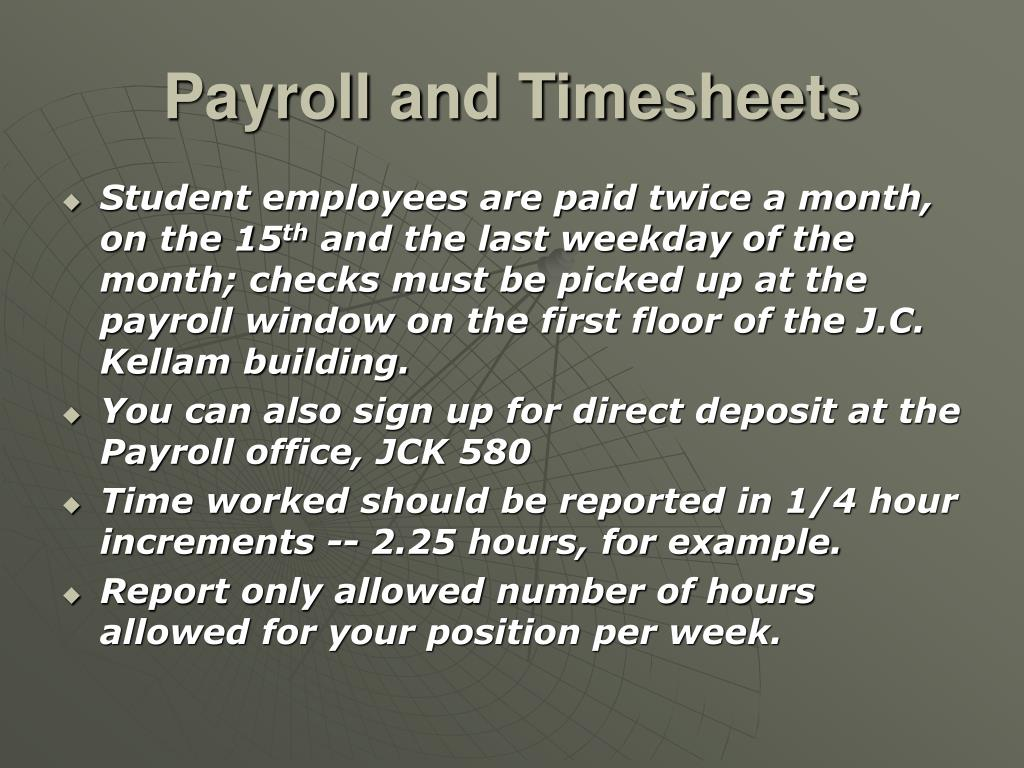 Payroll and Timesheets