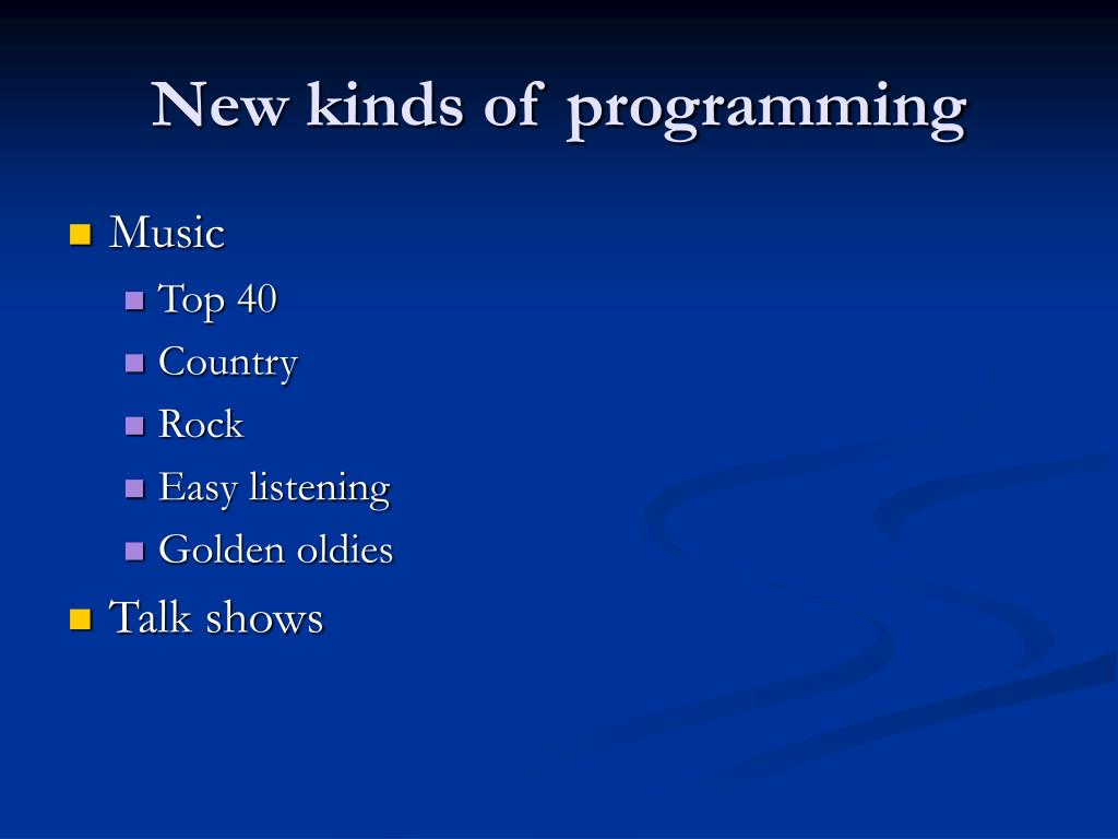 New kinds of programming