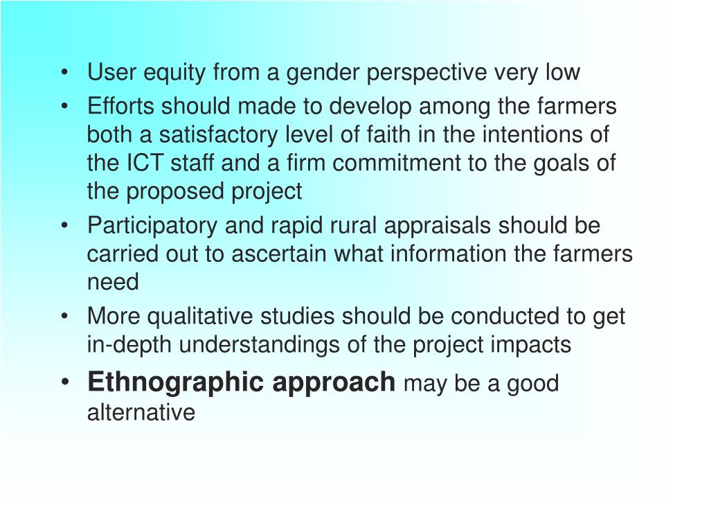 User equity from a gender perspective very low
