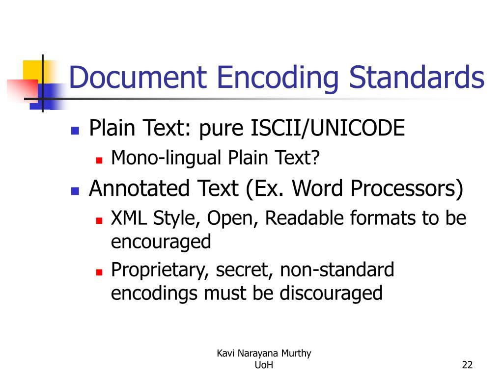 Document Encoding Standards