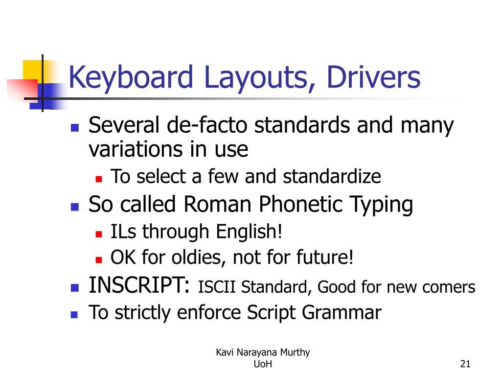 Keyboard Layouts, Drivers
