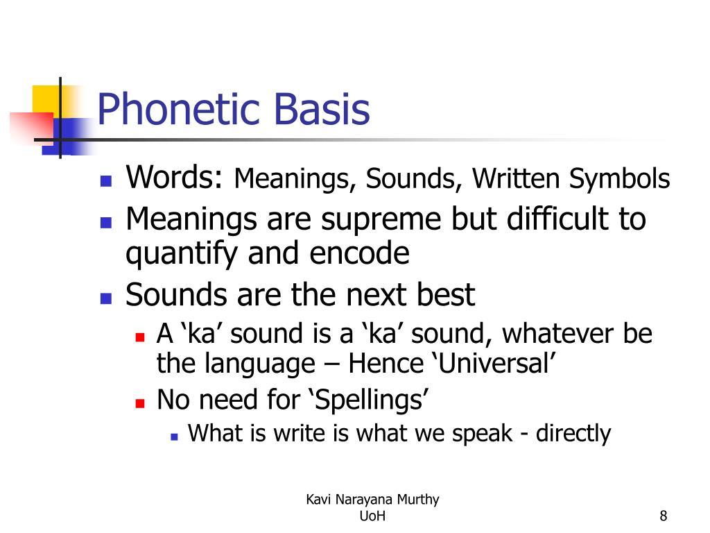 Phonetic Basis
