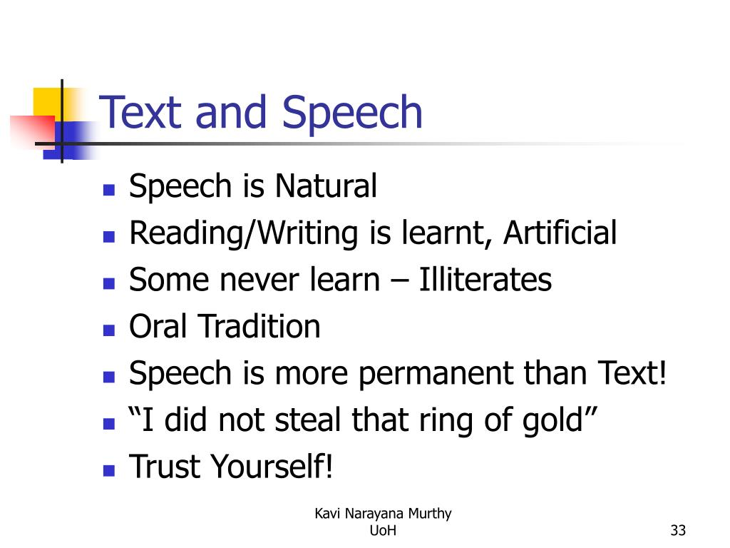 Text and Speech