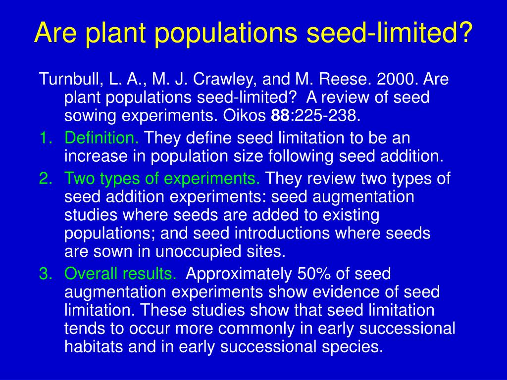 Are plant populations seed-limited?