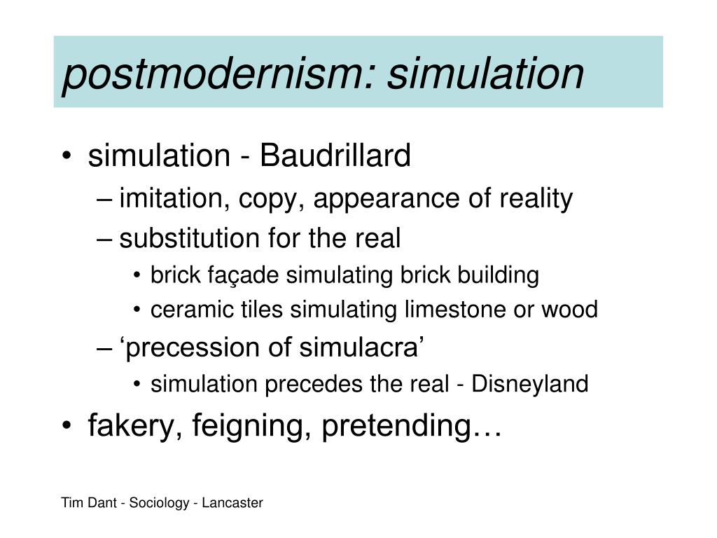 postmodernism: simulation