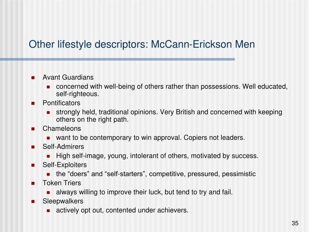 Other lifestyle descriptors: McCann-Erickson Men