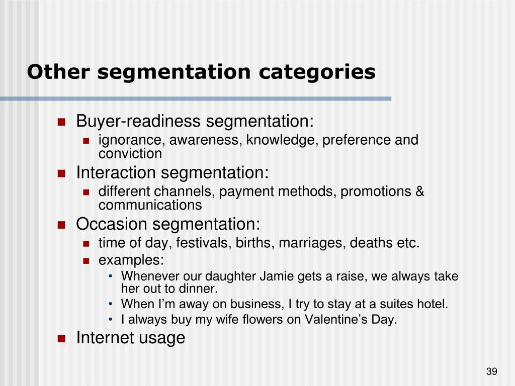 Other segmentation categories