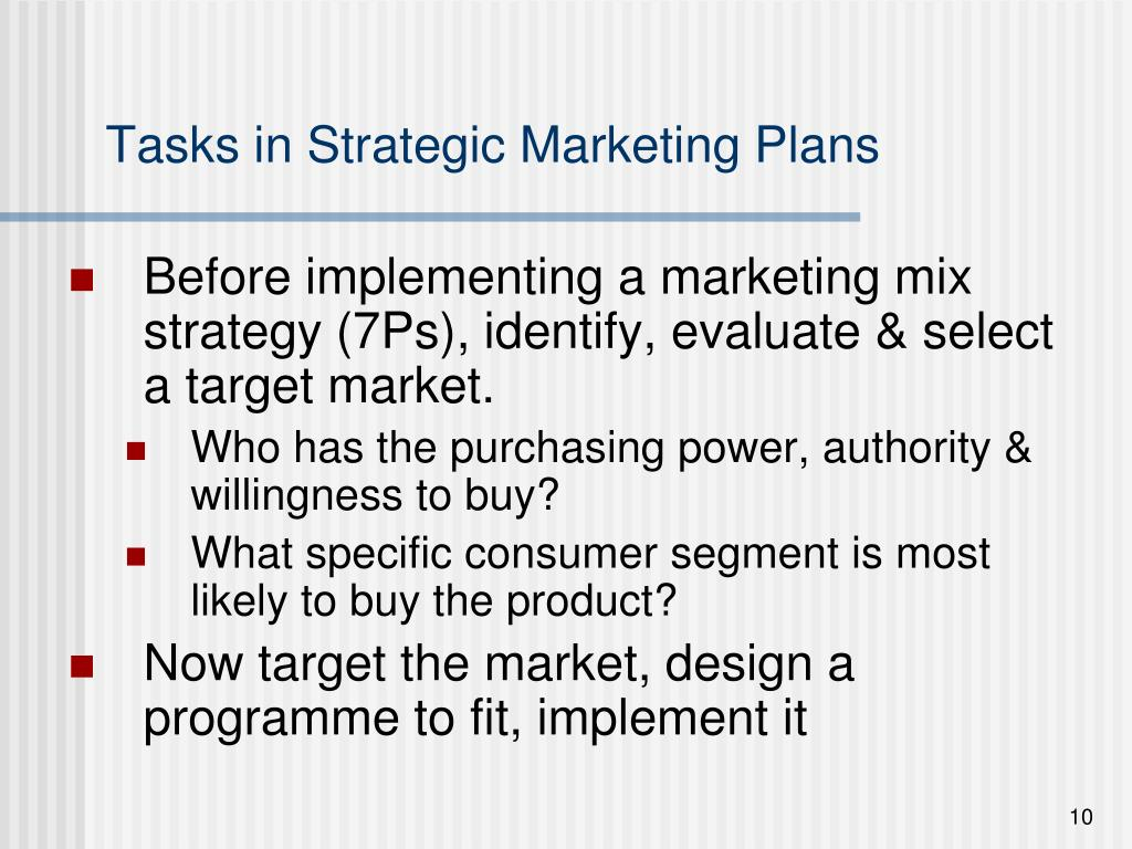 Tasks in Strategic Marketing Plans