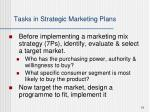 tasks in strategic marketing plans