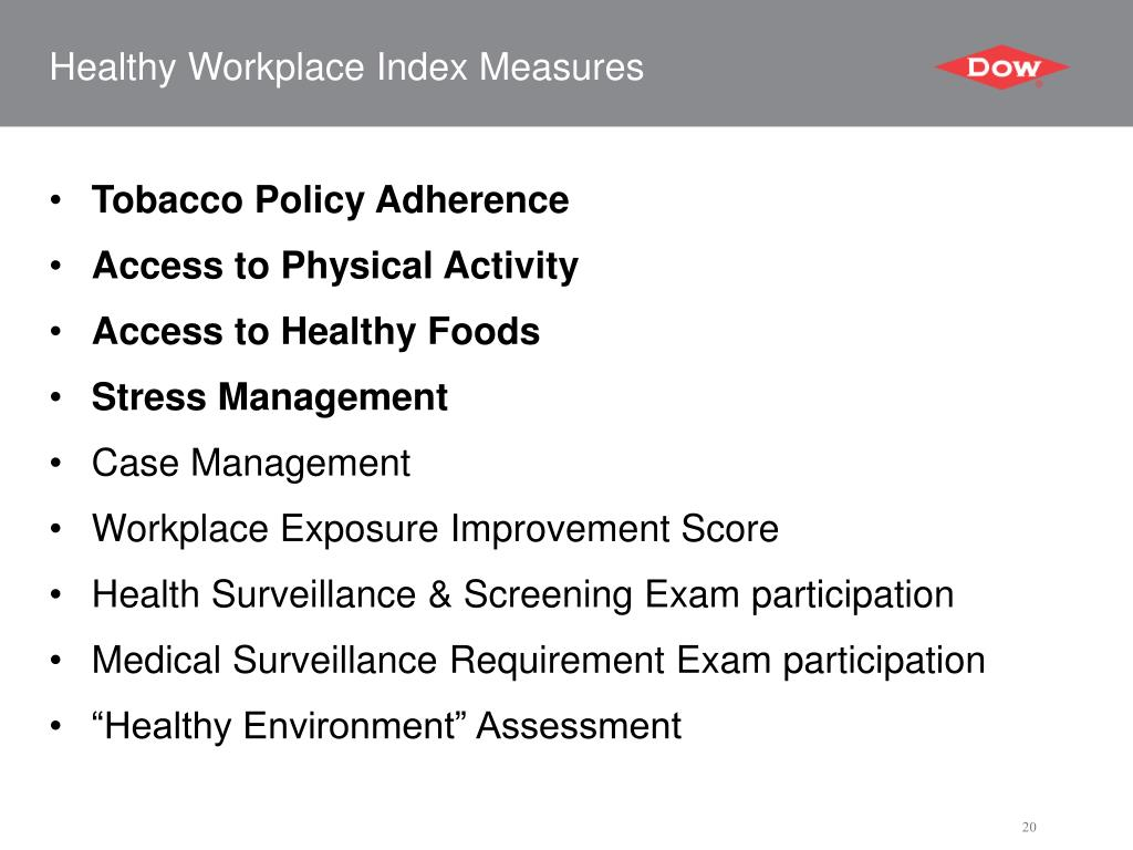 Healthy Workplace Index Measures