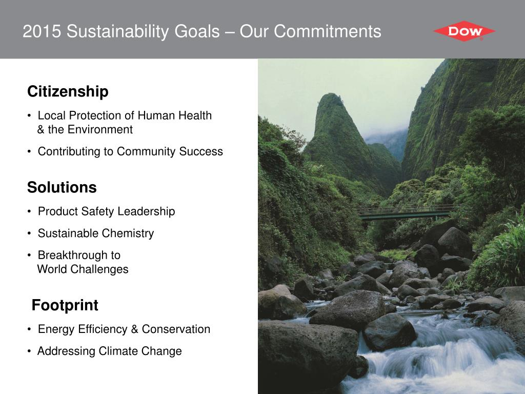 2015 Sustainability Goals – Our Commitments