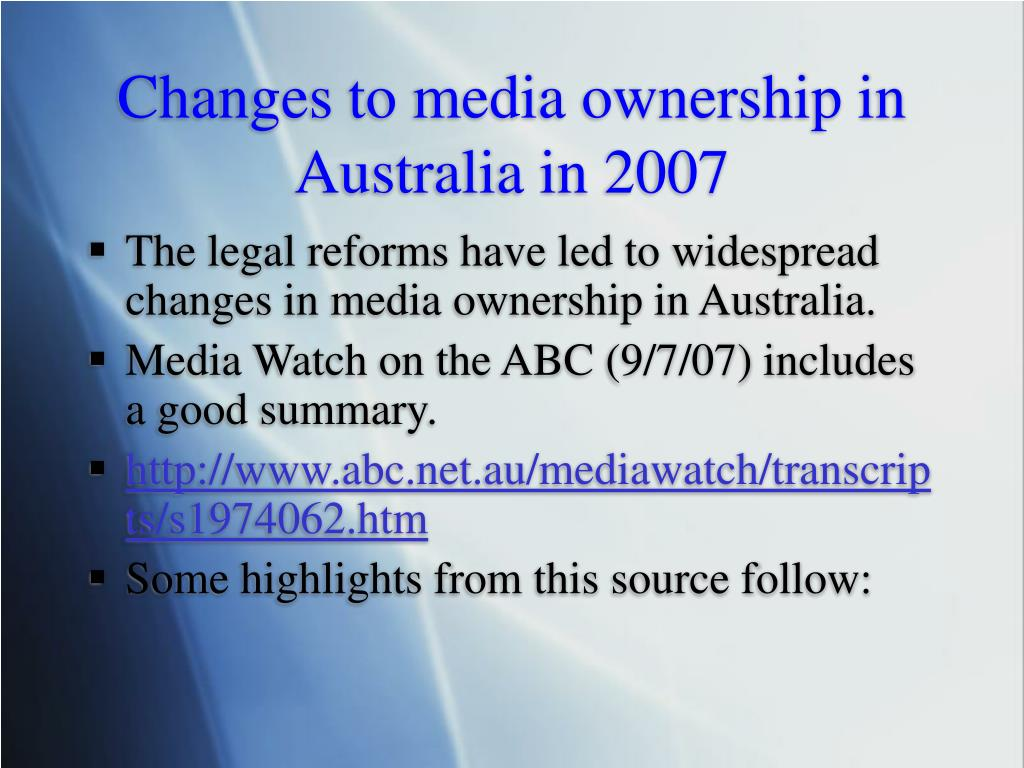 Changes to media ownership in Australia in 2007