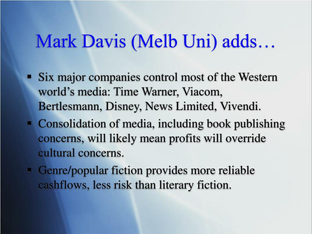 Mark Davis (Melb Uni) adds…