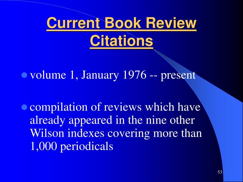 Current Book Review Citations