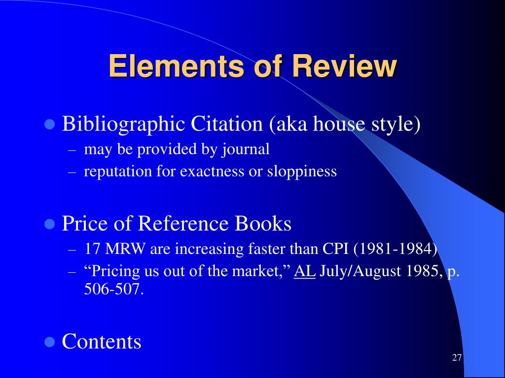 Elements of Review