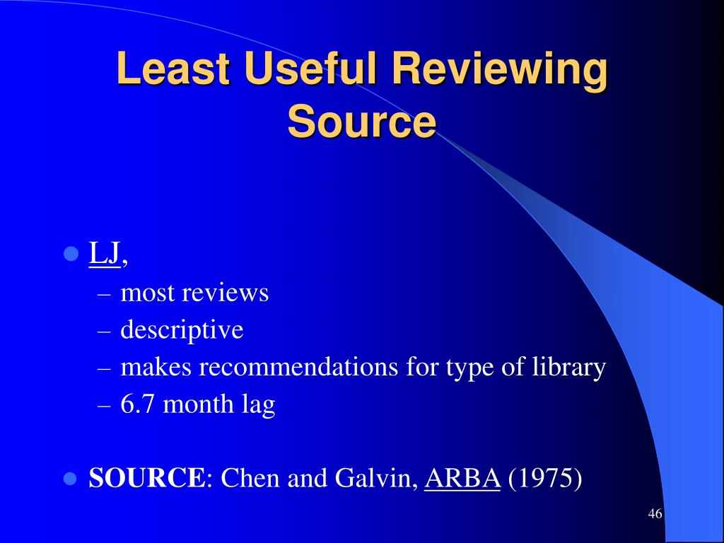 Least Useful Reviewing Source