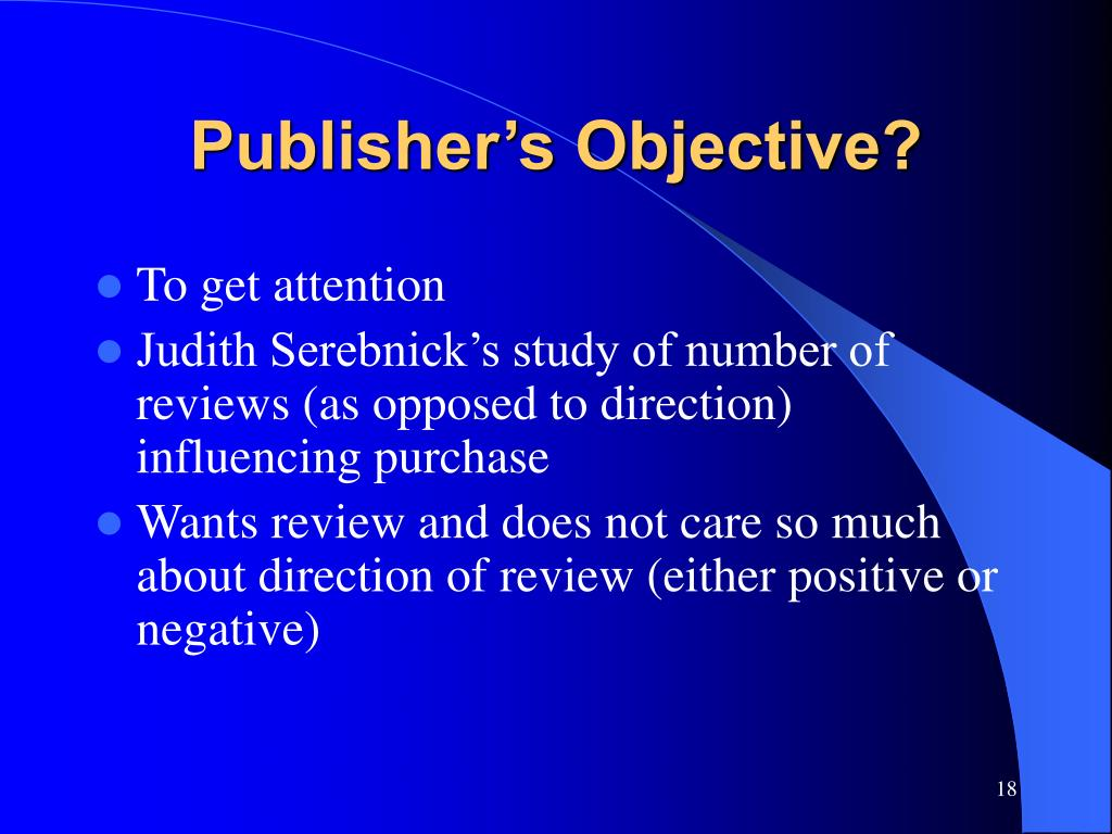 Publisher's Objective?