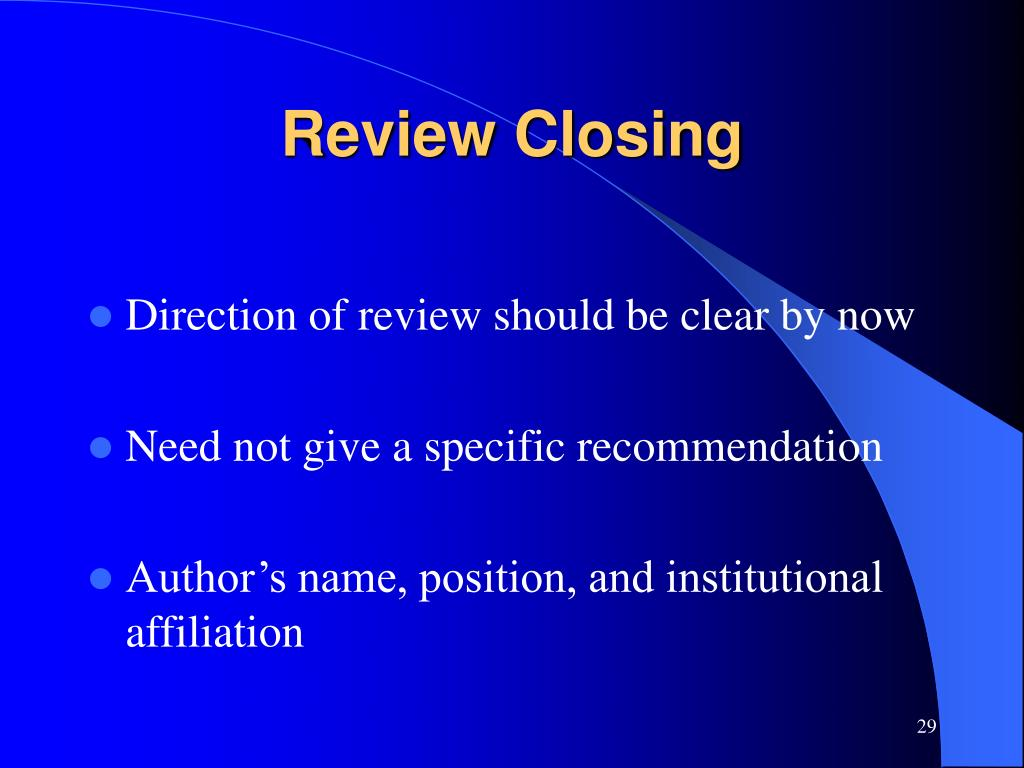 Review Closing