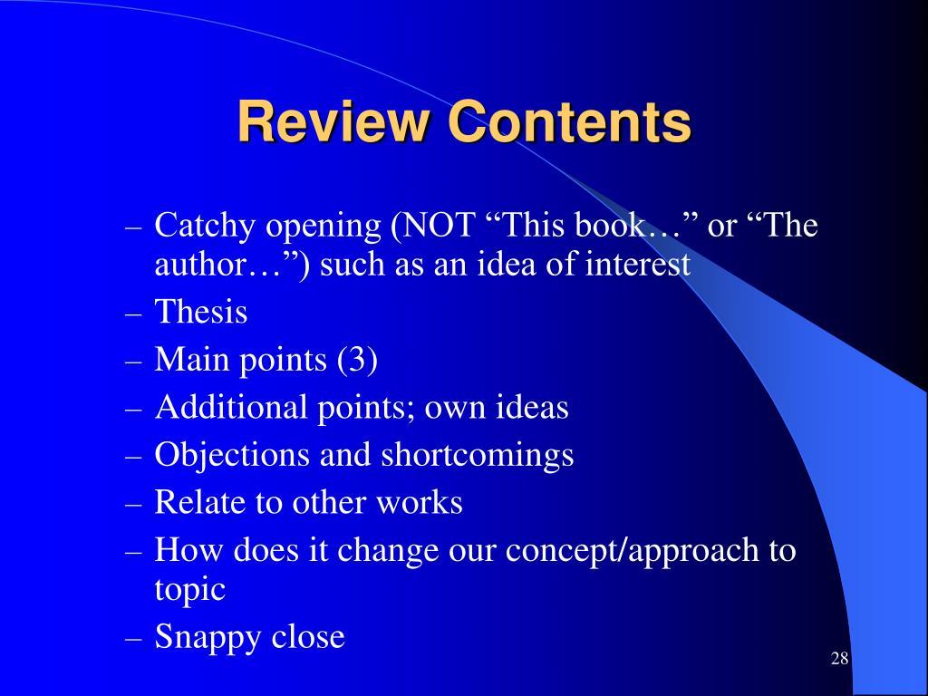 Review Contents