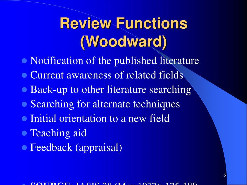 Review Functions (Woodward)