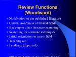 review functions woodward