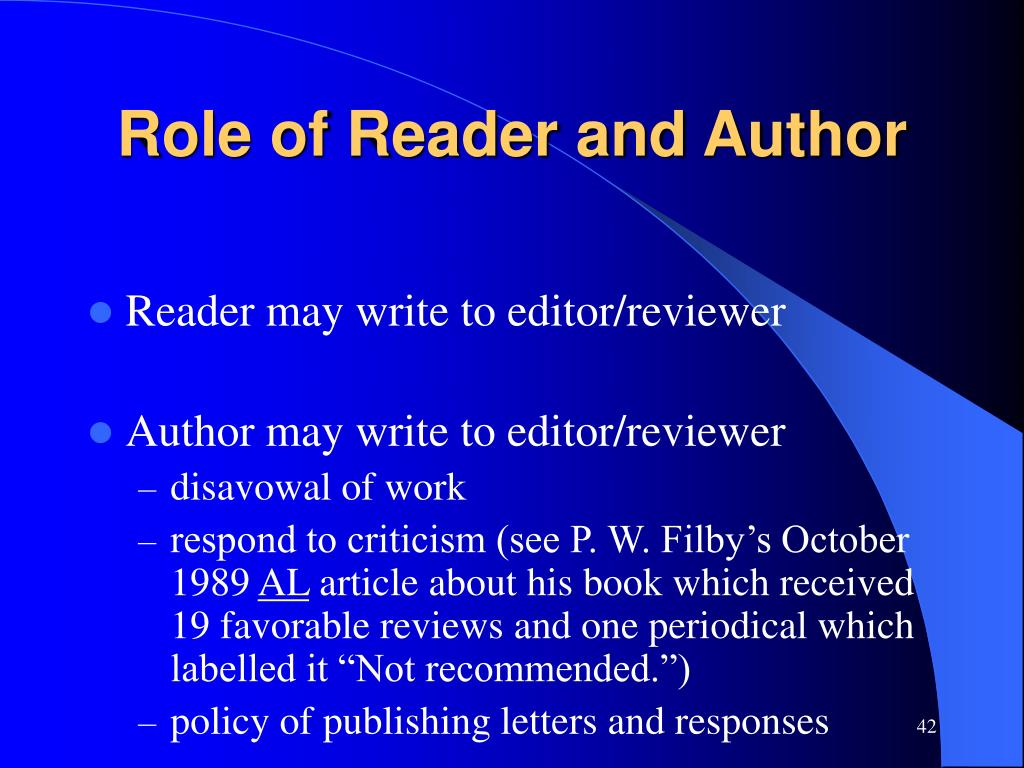Role of Reader and Author
