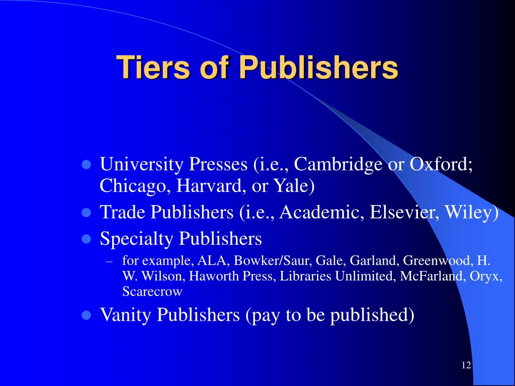 Tiers of Publishers