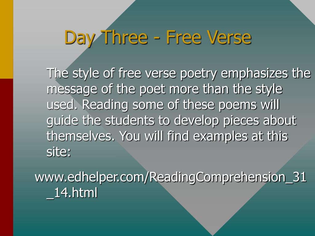 Day Three - Free Verse