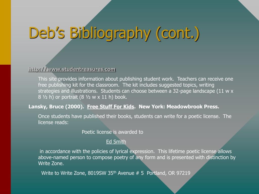 Deb's Bibliography (cont.)