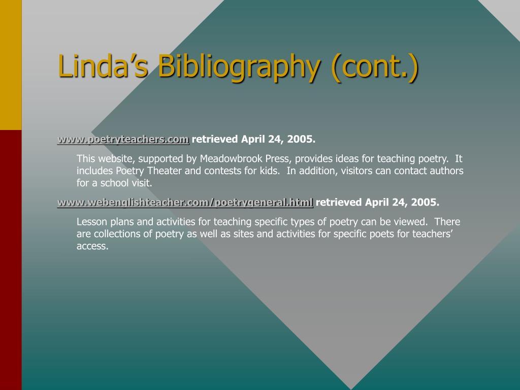 Linda's Bibliography (cont.)