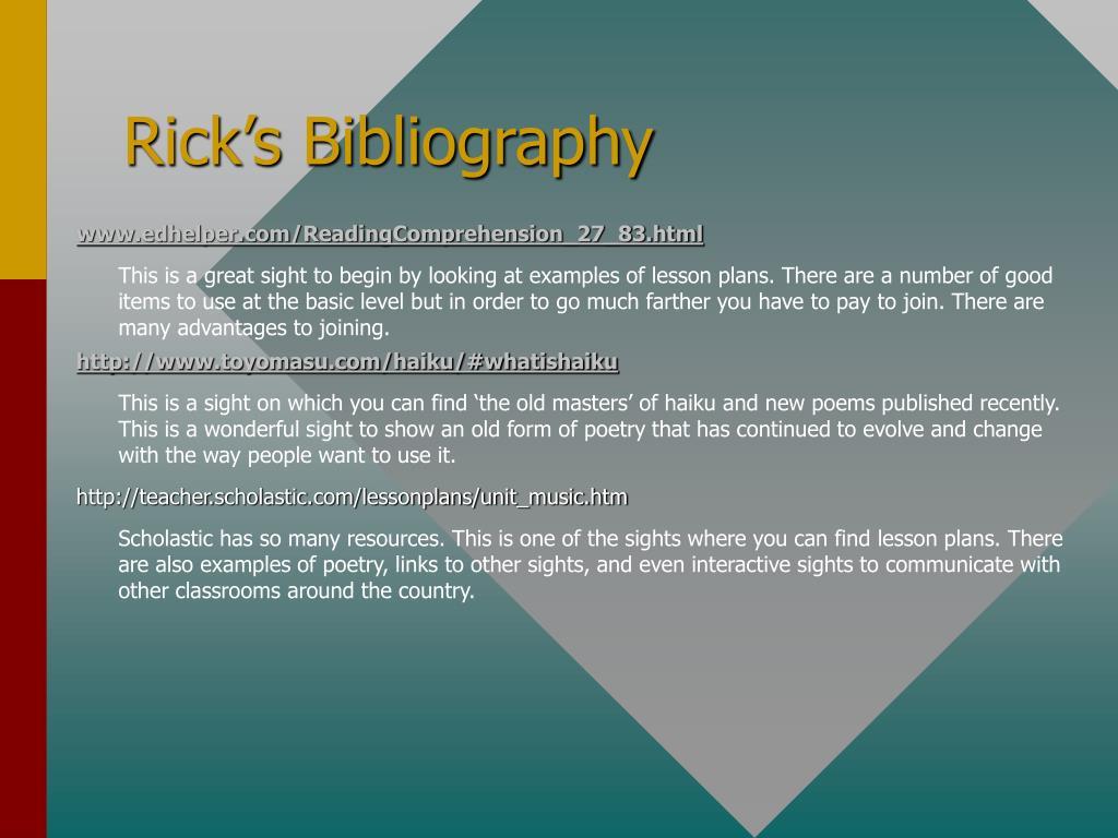 Rick's Bibliography