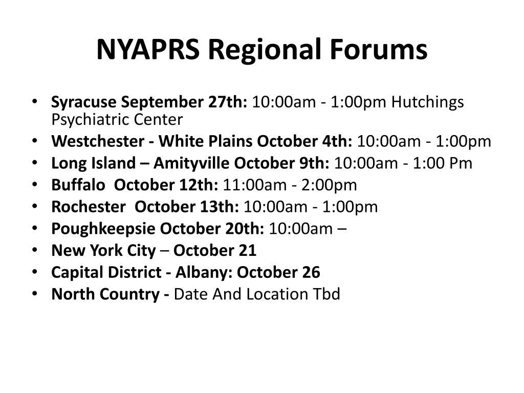 NYAPRS Regional Forums