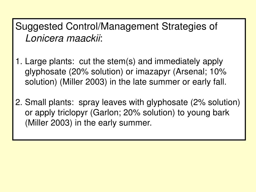 Suggested Control/Management Strategies of