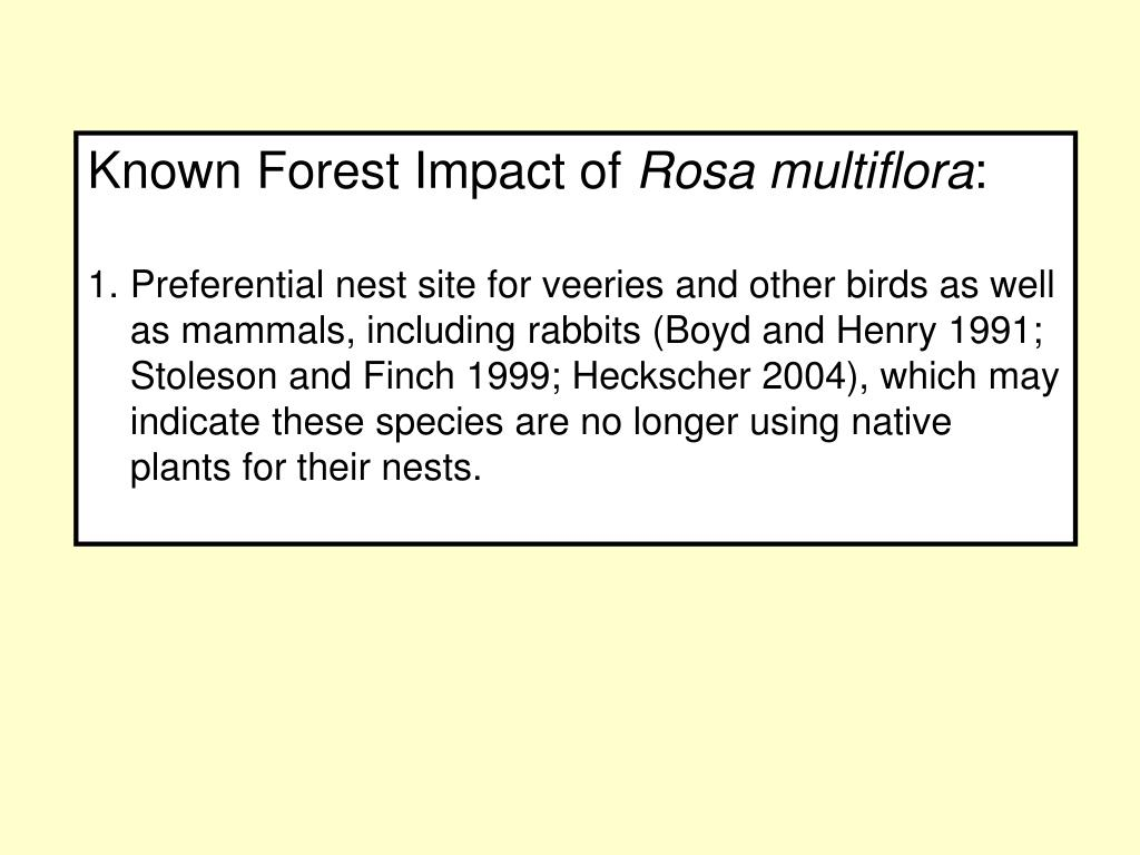 Known Forest Impact of